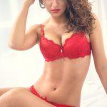 Woman in red underwear